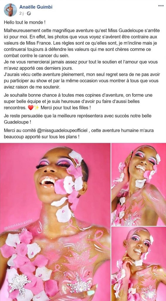 Message d'Anaelle Guimbi, candidate à Miss Guadeloupe évincée du concours par le comité Miss France