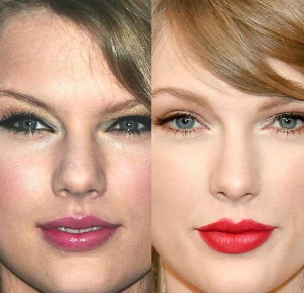 Taylor Swift lèvres avant / après